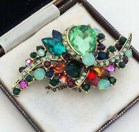 Vintage Style Peridot Green Glass Rhinestone Encrusted Antique Bronze Brooch Pin