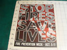 """Original 1960's Fire Prevention Week Poster: STOP FIRES SAVES LIVES, 8 1/2 x 11"""""""