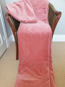 """Vintage Cotton Velvet Curtains Soft Pink Thick Heavy Lined UK Fabric 67"""" x 67"""""""