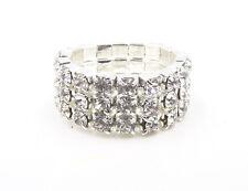 New Sparkling 3 Row Silver Austrian Crystal Rhinestone Stretch Ring #R1223