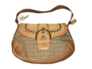 Coach brown suede & leather Soho  w/ brass studs Rare handbag Orig $305