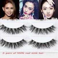 5Pairs 100% Mink Natural Black False Fake Eyelashes Eye Lashes Makeup Extension