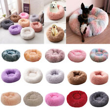 Pet Kennel Calming Bed Round Nest Warm Soft Plush Comfortable Sleeping Cage LOT