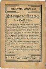 Stampa antica pubblicità COLLEGIO MANZONI Merate Lecco 1895 Old antique print