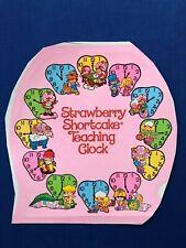 1984 Kenner Strawberry Shortcake Teaching Clock Back Replacement Sticker Sheet