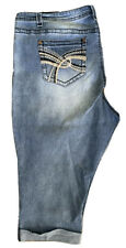 Almost Famous Women's Crop/ Capri Jeans Size 22, Very Stretchy, Distressed, Cuff