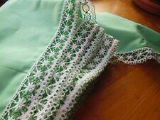 large bordure étagere  bas drap rideau dentelle vert au métre ancien 20 cm