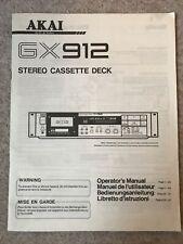 Akai GX912 Stereo Cassette Deck Manual Original English Français Deutsch Italian