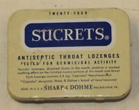 Sucrets Vintage Tin Litho Hinged Metal Box Container