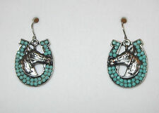 Horseshoe Horse Head Earrings Silver Tone Turquoise Pierced Fish Hook Style New