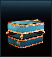 Turqoise Mid Century Opaline Glass Gilt Metal Mounted Ashtray Raised On Lionpaws