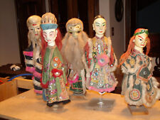 ANTIQUE SET ASIAN DOLLS PUPPETS WOOD W/ PLASTER FACES HAND MADE DRESS CIRCA 1920
