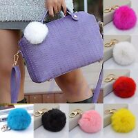 Lovely Genuine Rabbit Fur Ball PomPom Phone Car Keychain Handbag Charm Key Ring