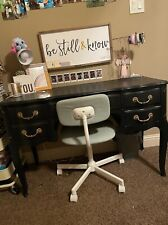 Black Desk With Mirror Opening. Needs A Little Paint. Chair Included For +$10.