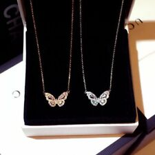 Chic Zircon Crystal Butterfly Pendant Necklace Women Choker Clavicle Jewelry New