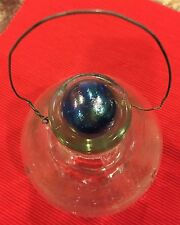 Vintage, Hanging, Clear Glass, Wasp & Insect Trap W/Stopper, Footed Bottom, New