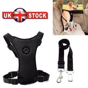 Dog adjustable Car & Walking Harness Travel Seat belt Clip Lead Safety-Black uk