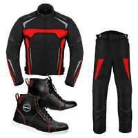 Men's Motorcycle Suit Cordura Waterproof Jacket Trousers Leather Riding Sneakers