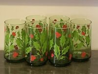 6 Vintage Anchor Hocking Holly Wreath Green Glass 12oz Holiday Drinking Glasses