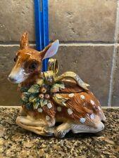 Christmas Fitz & Floyd Snowy Woods Christmas Deer Box Candy Jar Dish