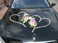 Meilleur mariage voiture décoration Set Kit Ruban Limousine 2 blanc coeurs & fleurs