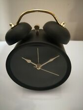 NEW RETRO LOOK Black & Gold Twin Bell Alarm Clock Classic Bedroom