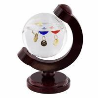 Globe Design Galileo thermometer On Wood Stand G101
