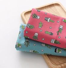 Green cactus plants 100% Cotton Fabric (BY HALF YARDS) Cacti Quilting HC1/19+