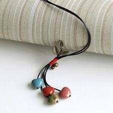 Women's Surf Sweater Chain Gift Ceramic Pendant Necklace Jewelry Heart Shaped
