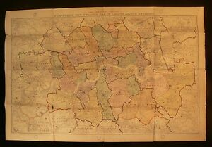 1918 Stanford's Two Inch Map of London & Its Environs - Parliamentary Edition