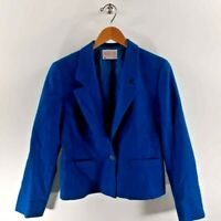 Pendleton Womens Blazer Blue Notch Lapel Pockets 100% Virgin Wool USA Petite 8