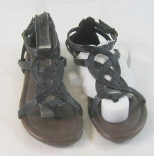 Summer Black Womens Shoes Roman Gladiator Flat Sandals Size 5.5