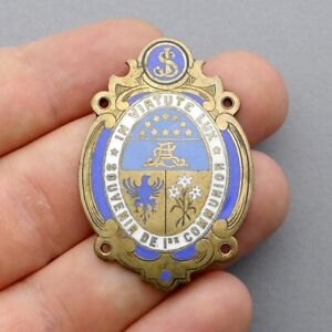 French, Antique Religious Large Enamel Pendant. First Communion. Medal.