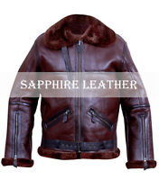 Men's B6 Bomber Real Ginger Shearling Sheepskin Flight Aviator Winter Jacket