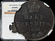 1844 Great Britain Half Farthing - NGC AU58 E over N Variety