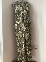 Vintage Marilyn Anslem Hobbs Dress Size 14 Green Floral Chiffon fully Lined