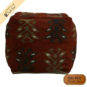 """Ethnic Kilim Jute Seating Pouf Cover Rustic 18"""" Ottoman Cover Handmade Pouf Case"""