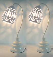 PAIR of New Deco Modern Table Bedside Lamps White Shade Metal Base