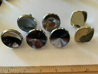 Vintage drawer knobs lot of 5 chrome heavy round Salvage MCM + 2 plastic