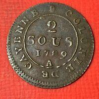 #5053 - CAYENNE 2 sous 1789 A Paris belle qualité pour le type