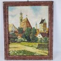 Antique Country Farmhouse Painting Signed 1935 Estate Find 19x16 Inch