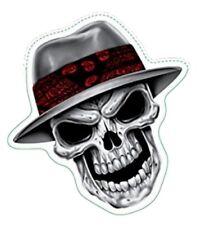 Aufkleber Gangster Totenkopf Chrom Gangsta Skull Chrome Sticker 7 x 7 cm Helm