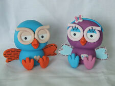 3D EDIBLE HOOT AND HOOTABELLE THE OWLS CAKE TOPPER / DECORATIONS