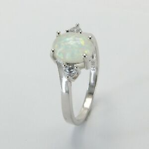 Size 6 White FIRE OPAL Ring with CZ 925 STERLING SILVER Rhodium #1545