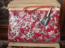 354e300c29 NWT~ CAVALCANTI MADE IN ITALY RED FLORAL NAPPA LEATHER LARGE WRISTLET  COSMETIC