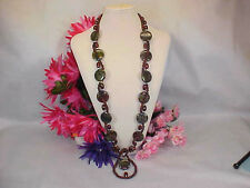 2 Necklaces-Dragonsblood & Brecciated Jasper Bead Wrapped Extra Long Necklace