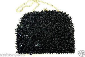 Vintage Hong-Kong Black Glass Beads Small Evening Purse Hand Bag Clutch