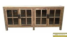 NEW Rustic Recycled Elm Timber Sideboard Natural Colour, 4 Glass Doors 210cm (L)