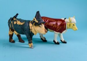 Pair of Cow Parade Figurines ~ Wizard of Oz Scarecrow, Classical Music Mozart?