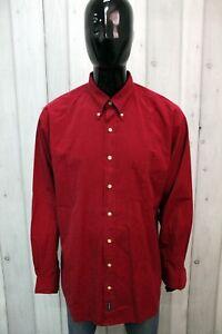 Camicia Gant Taglia XL Uomo Chemise Rosso Shirt Cotone Manica Lunga Logo Man
